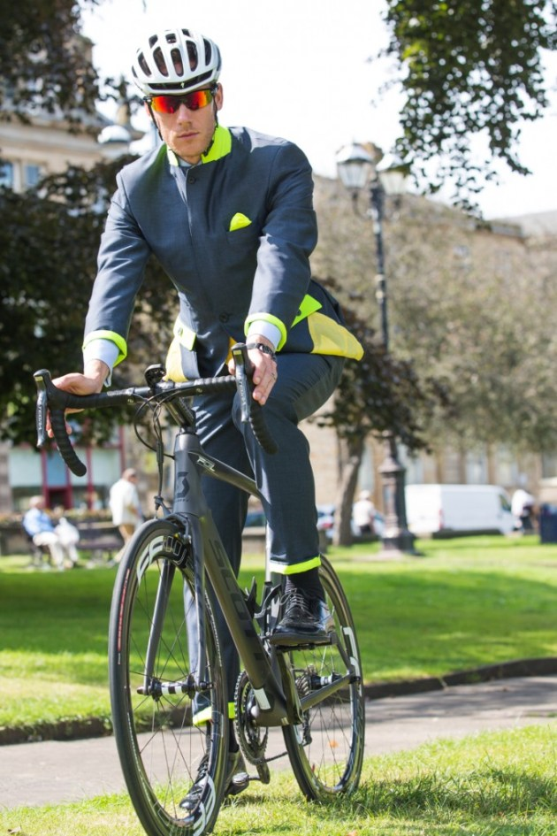 Owen Scott's new business-style cycling suit.