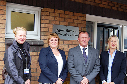 Hayley Sadler from the housing regeneration project team, Councillor Debra Coupar, Sean Corcoran from Keepmoat and Juliet Bennett from sc4L officially open the revamped community centre