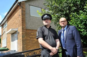 Chief Inspector Chris Bowen [left] and Councillor Mark Dobson [right]