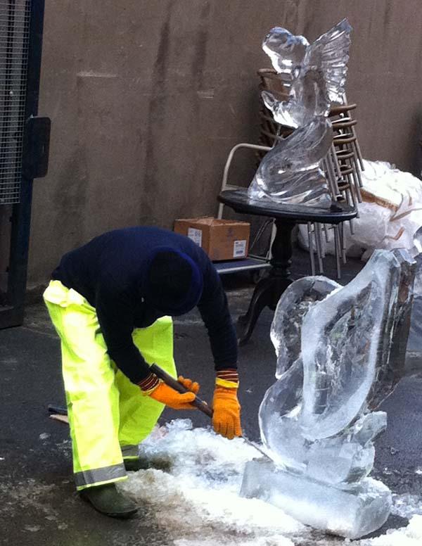 man making ice sculptures