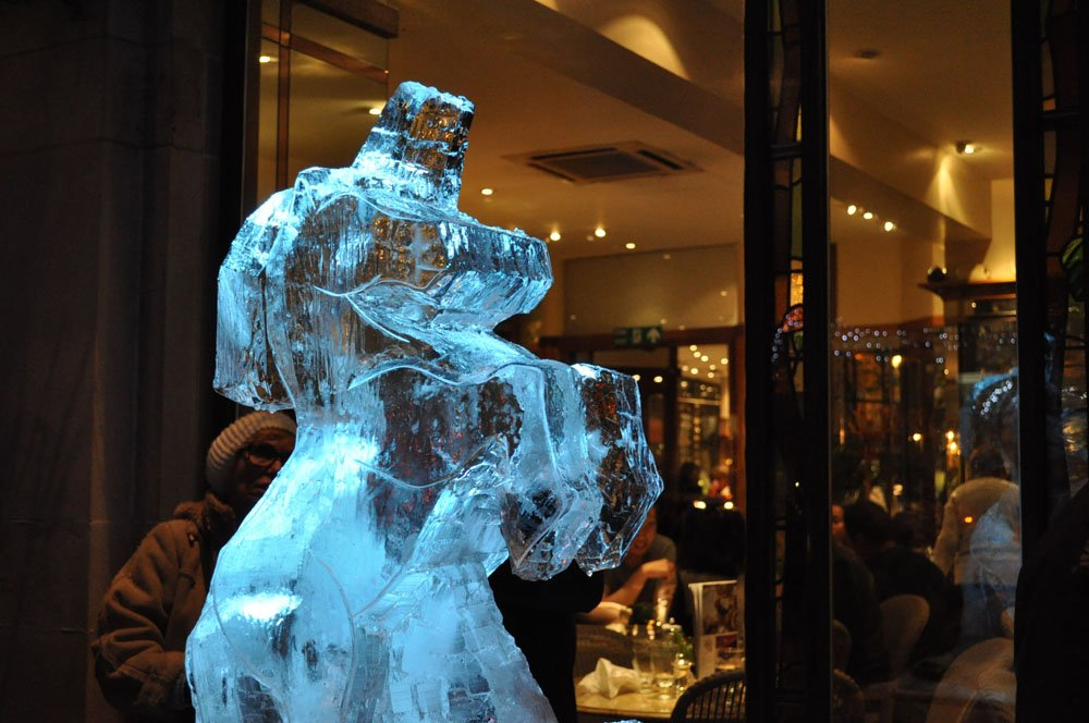 Carving an Ice Sculpture - near Betty's Tearoom - York