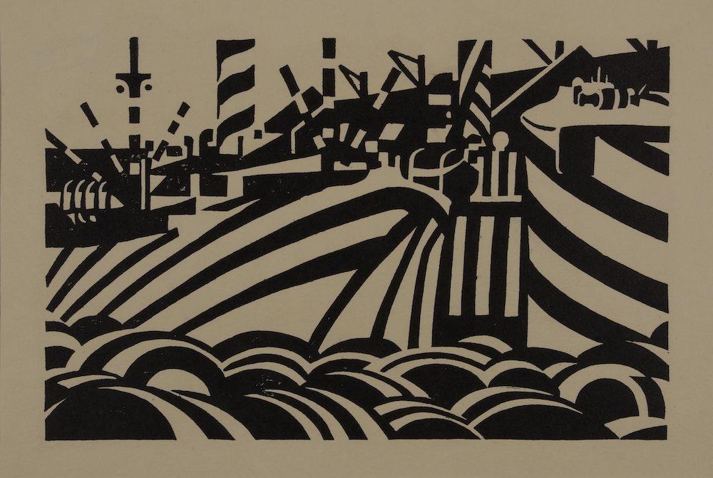 Dock scene (1918), Wadsworth, Edward © National Museums Liverpool-copy