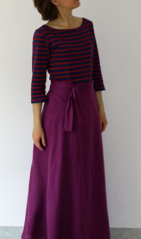 Coco top in organic interlock jersey and maxi Miette skirt in linen by Tilly and the Buttons