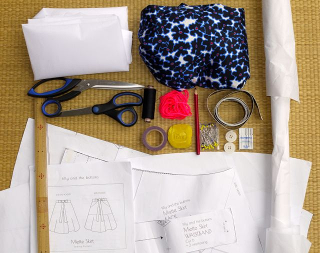 What you'll need to make a maxi Miette skirt by Tilly and the Buttons.
