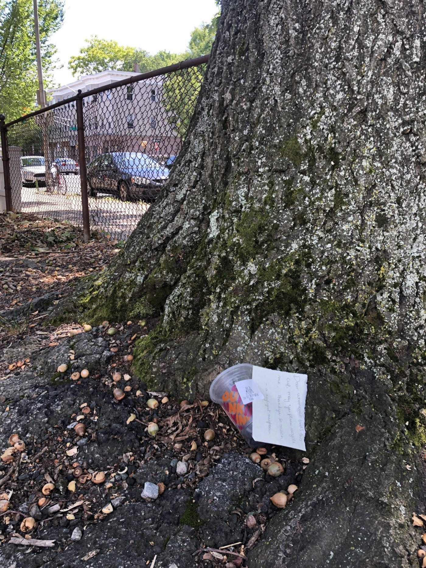 Photo of a cup and note in Boston, MA