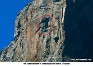 "See climbers in the ""7"" on the southeast face of El Capitan"