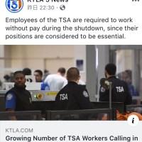 一部アメリカ政府機関閉鎖と空港警備