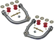 """Kit Includes: Upper Control Arms, Urethane Bushings, Inner Sleeves, Tapered Spindle Adapters, 1"""" I.D. Stainless Steel Uniballs, Upper & Lower Hi-Misalignment Spacers, Zinc Plated End Washers,  Grade 8 Mounting Hardware"""