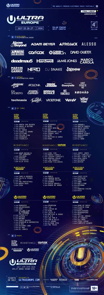 Line up Ultra Europe 2016