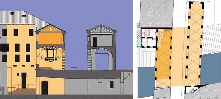 bim architettura pianta e sezione pescherie mantova