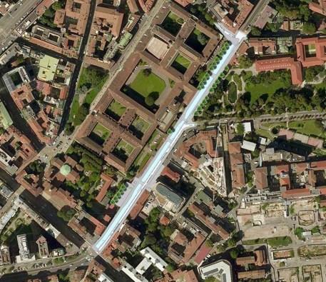 Planimetria generale del tratto di riapertura della Cerchia interna da via Laghetto a corso di Porta Romana