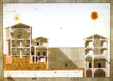 Disegno dell'architetto Pollack per il progetto del carcere di Sant'Agata
