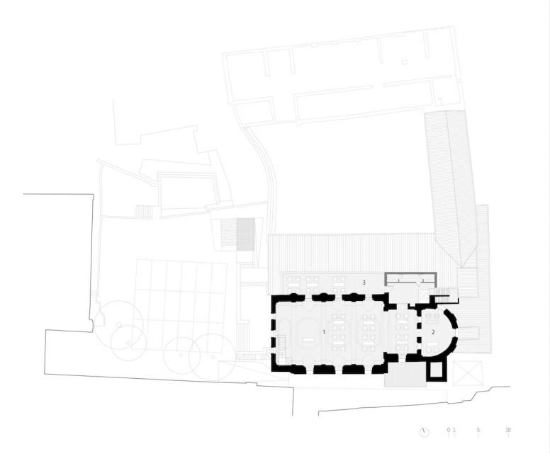 Piano secondo con (1) sala eventi ad uso pubblico, (2) sala lettura, (3) terrazza