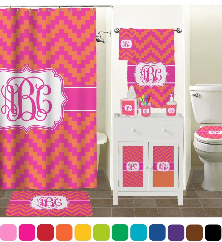 pink & orange chevron bathroom accessories set (personalized