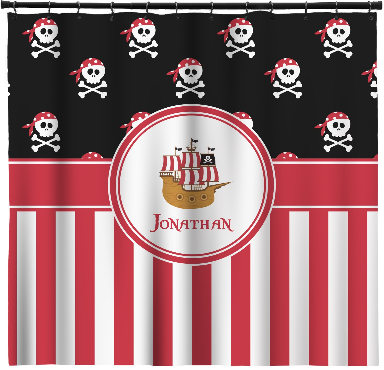 Pirate Stripes Shower Curtain Personalized