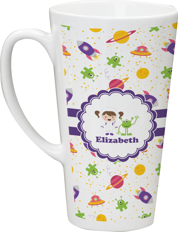 Girls Space Themed Latte Mug (Personalized) - YouCustomizeIt