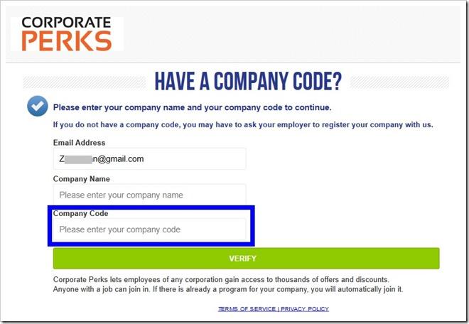 注册 Corporate Perks