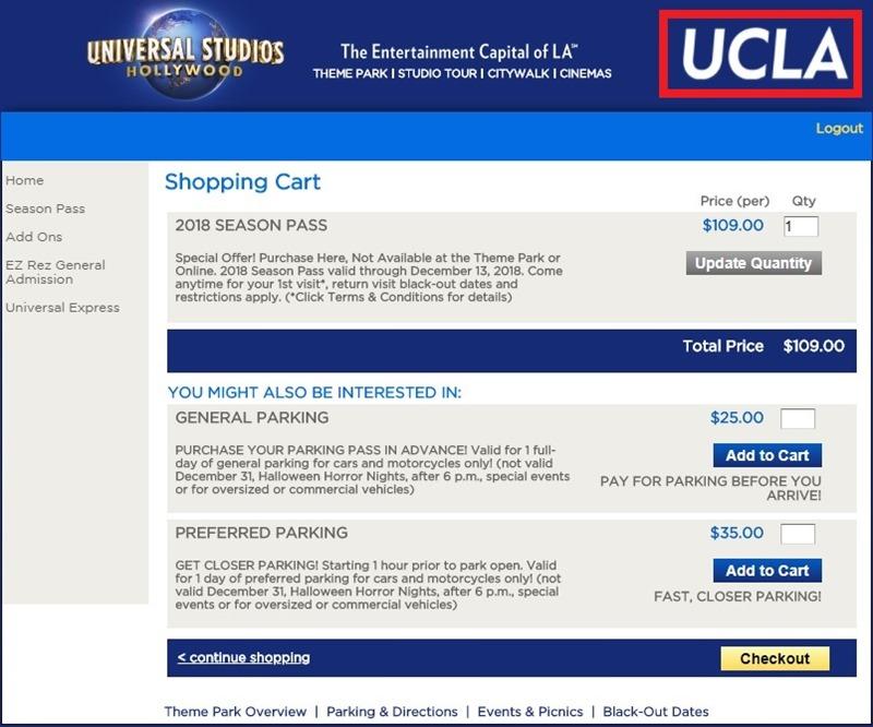 洛杉矶好莱坞环球影城UCLA票价