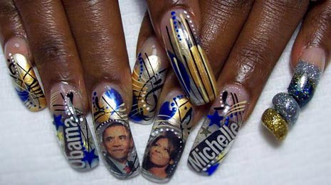 Barack Obama and Michelle on the fingernails of a woman.
