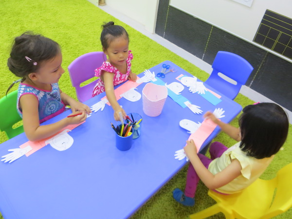 nursery kids engaged in Chinese nursery class