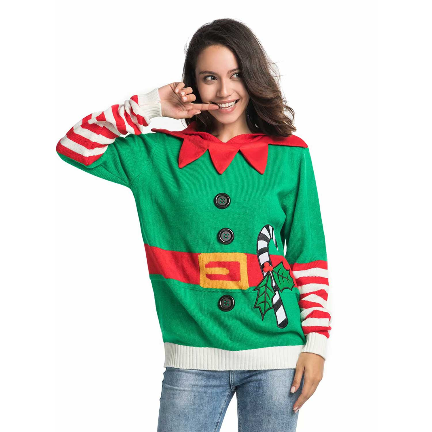 Knitted Elf With Bell Women S Ugly Christmas Sweater