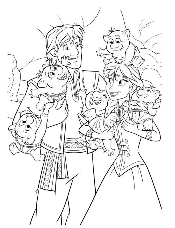 Картинка раскраска Кристофф, Анна и малыши тролли ...