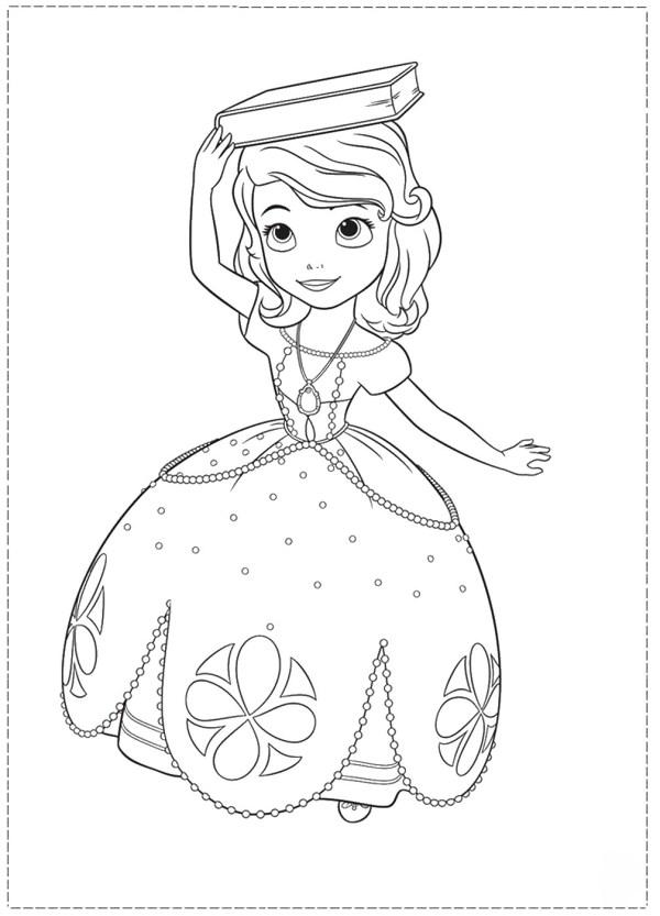 Раскраски София Прекрасная принцесса София с книгой на