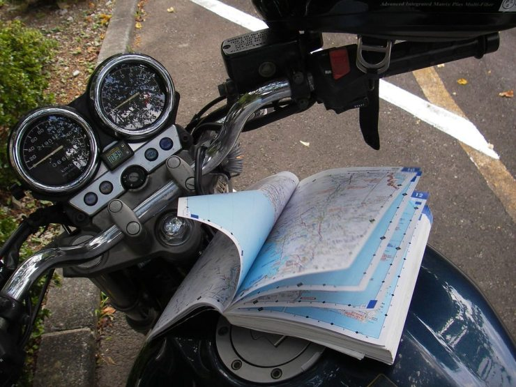 Motorcycle and Road Map