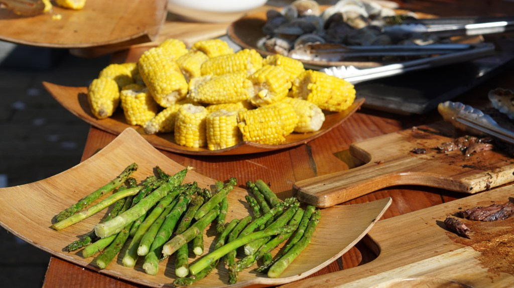asparagus and corn on cob at secret summer nyc