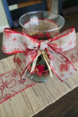 Christmas Vase with DIY ribbon and red vase fillers