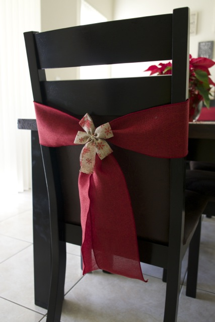 red chair ribbon and bow for Christmas