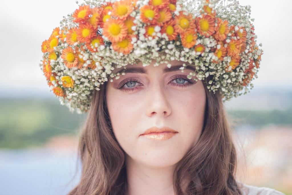 Woman with makeup and flower crown boost your mood younfolded blog