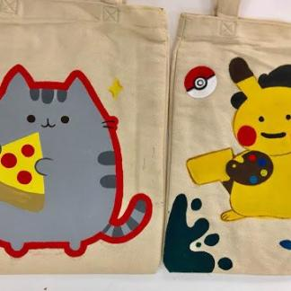 pusheen and pikachu on tote bag