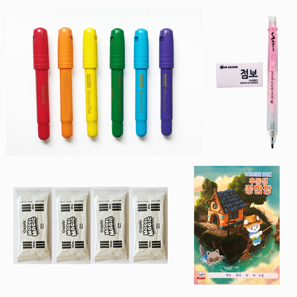 6 piece colors, pencil, clay and sketchbook