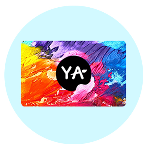 gift card; textured paint image with Young Art logo