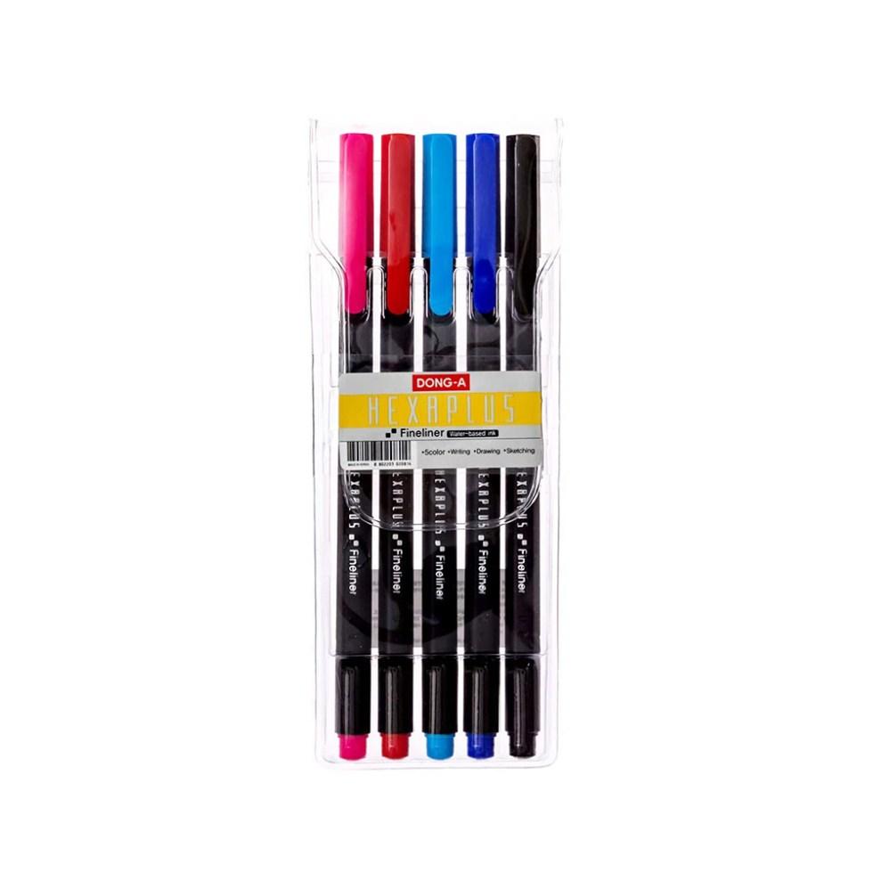 Set of 5 Multicolored Hexaplus Fine Liner Pens