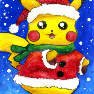 pikachu in santa clause outfit composition