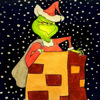 The grinch in chimney composition