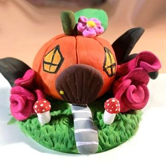pumpkin fair house clay sculpture