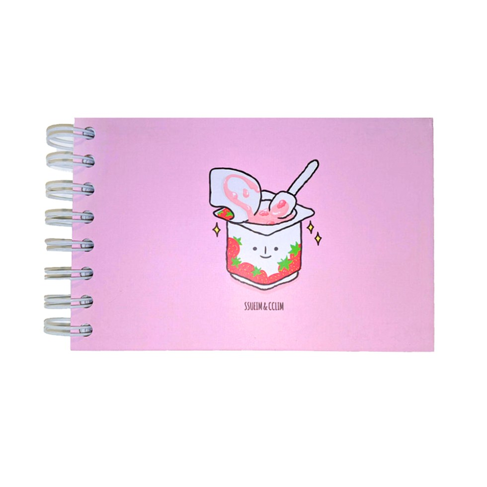 Small Sketchbook with cute strawberry yogurt character on front cover
