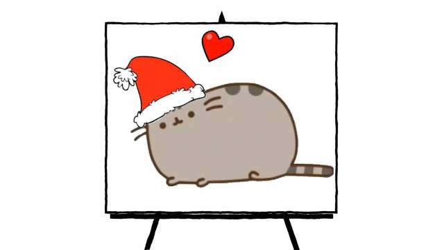 pusheen character with holiday hat