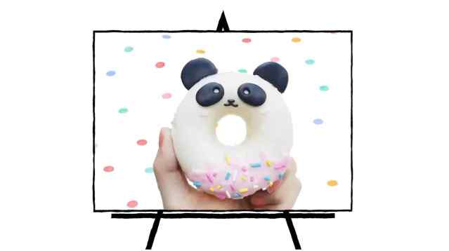 donut shaped panda decorated clay sculpture