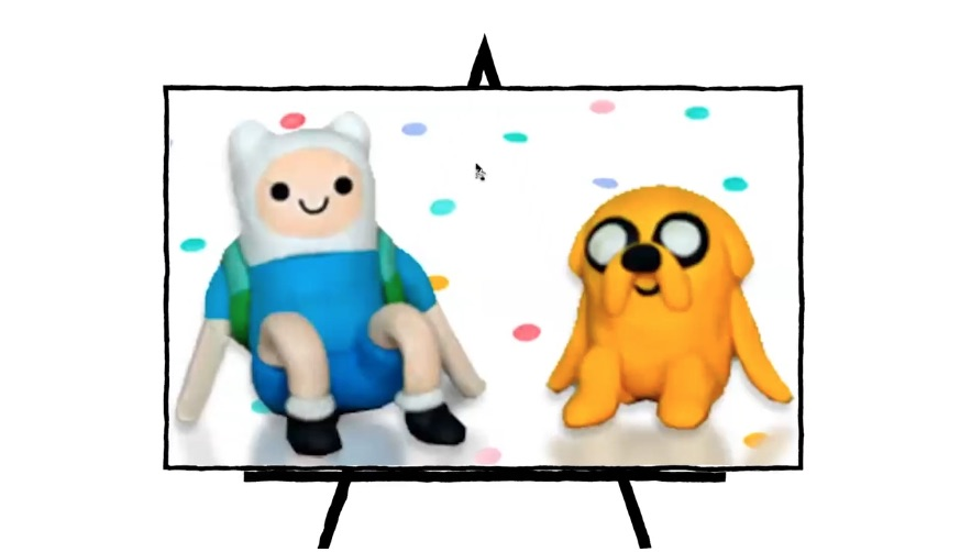 colorful clay sculptures of finn and jake characters