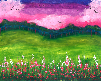 pink sky with green meadows and pink flowers