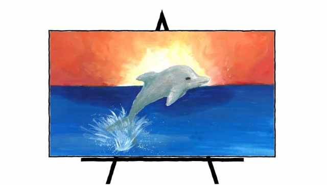 painting of dolphin jumping in water and sunset in background