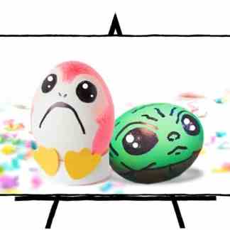 easter eggs decorated as porg and yoda