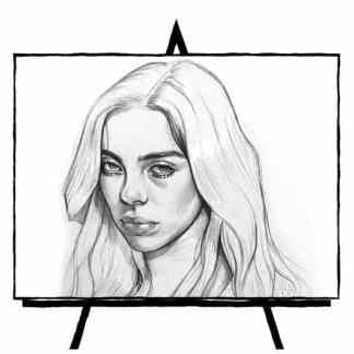 pencil portrait sketch of Billie Eilish