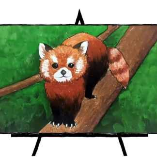 drawing of red panda standing on branch with green background