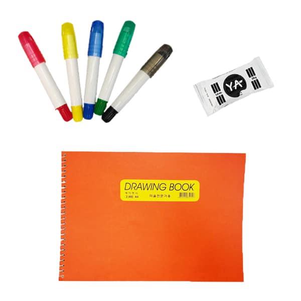 image of sketchbook, pack of clay, 5 art colors