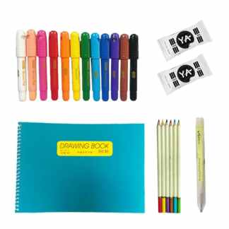 image of sketchbook, pack of clay, 5 art colors, colored pencils, sketching pencil